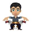Cute brunette man with weapon character vector image