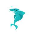 cute shark cartoon character in water splashes vector image