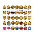 set of 35 funny emoticons with black stroke emoji vector image