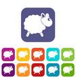 sheep icons set flat vector image
