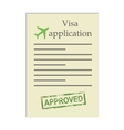 Visa application with approved stamp vector image
