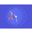Woman hangs on the big arrow of the life watch vector image