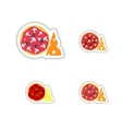 Stickers assembly pizza with cheese and mushrooms vector image