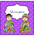 Background with baby girl and boy twins vector image