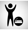 happy man with symbol sleep dreams icon vector image