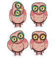 curious owl in teal glasses vector image