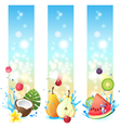 3 fruits in splashes banners vector image vector image