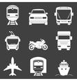 Simple monochromatic transport icons set vector image