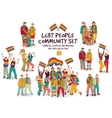 Lgbt people community set isolated group vector image