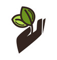 gardening eco environment icon of hand and vector image