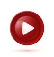 Red glossy play button icon vector image