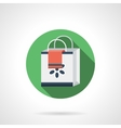 Shopping bag round flat color icon vector image