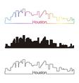 Houston skyline linear style with rainbow vector image