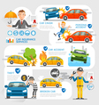 Car insurance business character and icons vector image vector image