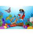 Cartoon sea animals with Shipwreck on the ocean vector image