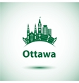 city skyline with landmarks Ottawa Ontario vector image