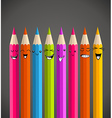 Colorful rainbow pencil funny cartoon vector image