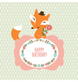 Cute fox Greeting card vector image