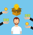 man character crowdfunding money investor capital vector image