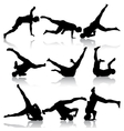 Silhouettes breakdancer on a white background vector image