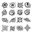 versus logo set argue fight symbols in vector image