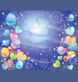 background with balloons dark blue vector image