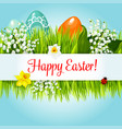 easter egg in grass with flowers cartoon poster vector image