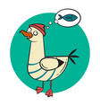 cartoon crazy smiling seagull on rounded vector image