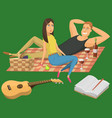 picnic setting with red wine glasses guitar vector image