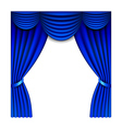 Blue window curtains isolated on white vector image