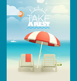 Beach landcape with chairs and umbrella vector image
