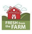 farm fresh product label farmer barn vector image
