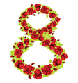 Number 8 of roses vector image