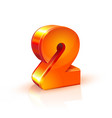 shiny orange red 3d number 2 on white background vector image