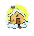 snow covered house vector image