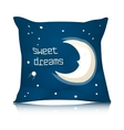 Square Pillow Design with Cartoon Sleeping Moon vector image vector image