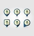 garden lantern flat pin map icon vector image
