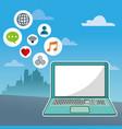 laptop social media communication network city vector image
