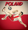 poland soccer player with flag background vector image