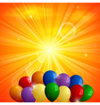 Abstract orange background with sun and balloons vector image