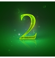 2 Green glowing number two vector image
