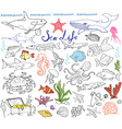Big sea life animals hand drawn sketch set doodles vector image