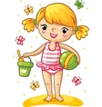 Cute little girl playing in the sand vector image