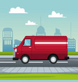 poster city landscape with fast delivery truck of vector image