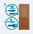 restore a wood door concept vector image