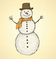 Sketch Christmas snowman in vintage style vector image