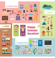 Summer travel and vacation elements vector image