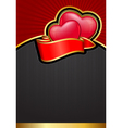valentines day background with hearts and ribbon vector image
