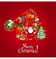 Santas hat silhouette created of xmas icons vector image