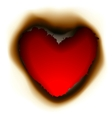 Burnt hole in shape of heart vector image vector image